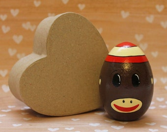 Sock Monkey Easter Egg Wooden READY TO SHIP Hand Painted Easter Decorations Basket Stuffer Home Decor Brown