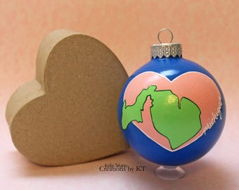 """Michigan Christmas Ornament Glass READY TO SHIP 2.25"""" Hand Painted Bauble Home is Where the Heart is Collection Michigan Art Great Lakes Art"""