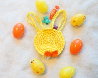 Easter Bunny Bag Easter Treat Bags Easter Basket Stuffers Crochet Bag Boy Easter Bow Orange Bow Tie Yellow Bunny Party Favor Bags Pom Pom