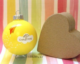 Baby's First Christmas Ornament READY TO SHIP Yellow Paper Airplane Cloud Hand Painted Glass Bauble New Baby Baby Shower Gift Gender Neutral