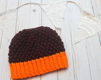 Team Spirit Crochet Messy Bun Beanie READY TO SHIP Adult Women Size Crochet Hat Crochet Beanie for Women Crocheted Hats Messy Bun Hat