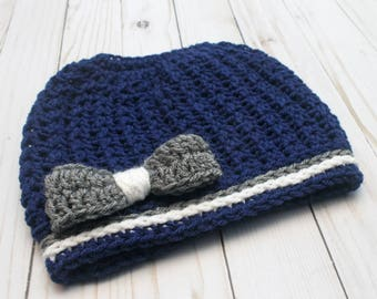 Team Spirit Crochet Messy Bun Beanie with bow READY TO SHIP Sized for Women Tailgating Beanie Hat Team Game Day Team Colors Football