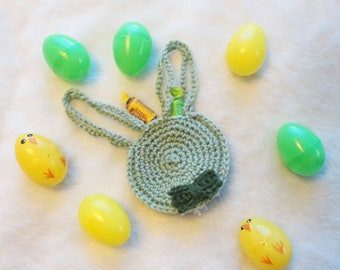 Easter Bunny Bag Easter Treat Bags Easter Basket Stuffers Crochet Bag Boy Easter Bow Bow Tie Pale Green Party Favor Bags Pom Pom