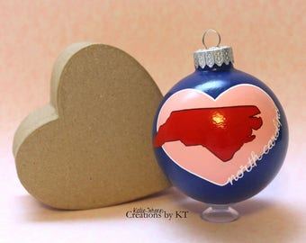 North Carolina Christmas Ornament Glass READY to SHIP 2.25 NC Hand Painted Bauble Home is Where the Heart is State Art North Carolina Art