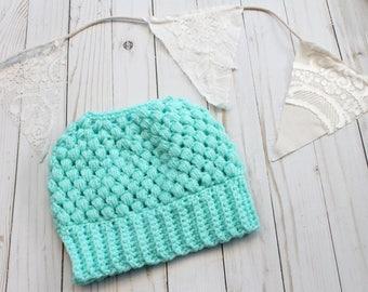 Mint Crochet Messy Bun Beanie READY TO SHIP Adult Women Size Crochet Hat Crochet Beanie for Women Crocheted Hats Messy Bun Hat
