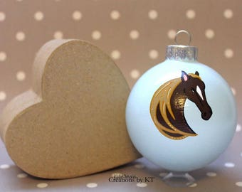 Horse Christmas Ornament READY TO SHIP Hand Painted Glass Bauble Horse Painting Horse Decor Horse Art Equestrian Gifts Equestrian Art