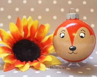 Fox Christmas Ornament READY TO SHIP Woodland Animal Hand Painted Glass Bauble Animal Art Red Fox