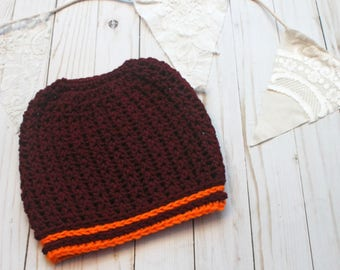 Team Spirit Crochet Messy Bun Beanie READY TO SHIP Sized for Women Burgundy & Orange Tailgating Beanie Hat Game Day Team Colors Football
