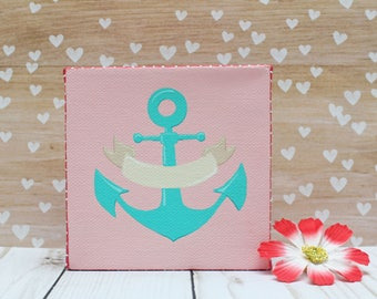Anchor Decor Nautical Canvas Acrylic Painting Pink and Teal Banner Customizable 4x4 Chunky Canvas Nautical Wall Art Decor Nautical Nursery