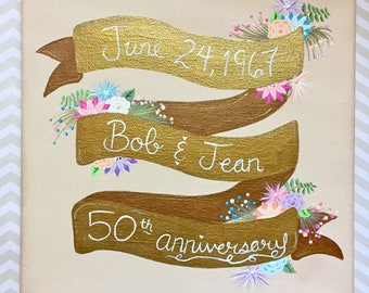 50th Wedding Anniversary Custom Canvas 8x8 MADE TO ORDER Hand Painted Anniversary Gifts Gold For Couple For Parents For Husband For Wife