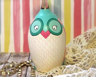 Owl Wine Glass Tea Light Candle Holder READY TO SHIP Hand Painted Pink and Mint Kawaii Woodland Animal Art Woodland Decor Owl Decor