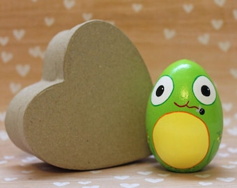 Frog Wooden Easter Egg Hand Painted READY TO SHIP Easter Decorations Basket Stuffer Home Decor Spring Decor Frog Gifts Bright Green Kawaii