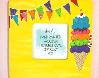"""Ice Cream Wood Picture Photo Frame Wooden Home Decor READY TO SHIP 3.7""""x3.7"""" Picture Opening Hand Painted Ice Cream Party Wood Art Food Art"""