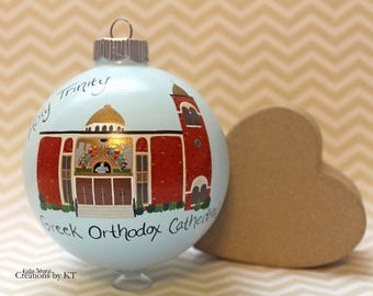 Custom Church Painting Christmas Ornament MADE TO ORDER Special Place Wedding Gift Wedding Venue Baptism Gift Hand Painted Personalized