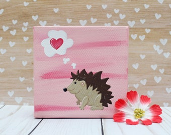 Hedgehog Love Canvas 4x4 Acrylic Painting Valentines Gift Anniversary Gift Pink Heart Hand Painted Woodland Animal Baby Girl Nursery Decor