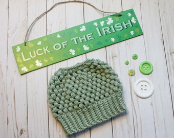 Pale Sage Green Crochet Messy Bun Beanie READY TO SHIP Adult Women Size Crochet Beanie for Women Crocheted Hat Messy Bun Hat St Patricks Day