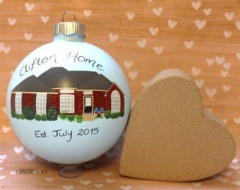 Custom House Ornament MADE TO ORDER New Home New House Realtor Closing Gift New Homeowners Christmas Glass Bauble Hand Painted Housewarming