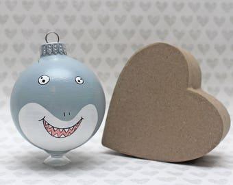 Shark Christmas Ornament READY TO SHIP Shark Decor Shark Birthday Shark Ornament Hand Painted Ocean Animal Shark Lovers Nautical Shark Week
