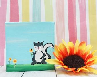 Flower Skunk Acrylic Canvas Painting 4x4 Woodland Animals Woodland Nursery Decor Woodland Creatures Animal Art Hand Painted