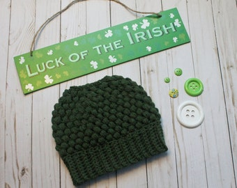 Hunter Green Crochet Messy Bun Beanie READY TO SHIP Adult Women Size Crochet Beanie for Women Crocheted Hats Messy Bun Hat St Patricks Day
