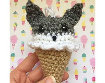Grey Wolf Ice Cream Cone Crochet Christmas Ornament READY TO SHIP Woodland Animals Amigurumi Kawaii Plush Ice Cream Party Favors