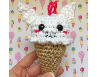 Cat Ice Cream Crochet Christmas Ornament READY TO SHIP White Amigurumi Ice Cream Party Favors Kawaii Plush Food Art Crochet Animals