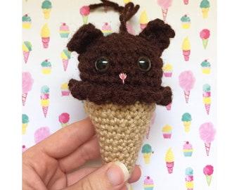 Brown Bear Ice Cream Crochet Christmas Ornament READY TO SHIP Woodland Animals Crochet Animals Ice Cream Party Favors Kawaii Plush Amigurumi