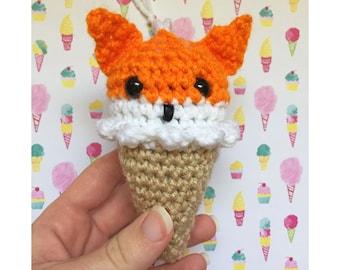Orange Fox Ice Cream Cone Crochet Christmas Ornament READY TO SHIP Woodland Animals Amigurumi Kawaii Plush Ice Cream Party Favors