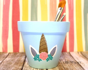 Unicorn Horn Floral Flower Pot Makeup Brush Holder READY TO SHIP Makeup Brush Organizer Hand Painted Succulent Planter Pencil Holder Magical