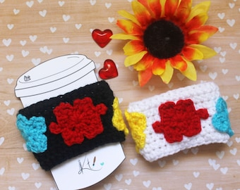 Autism Awareness Cup Cozy Crochet READY TO SHIP Puzzle Pieces Until the Pieces Fit Autism Mom Coffee Cozy Can Cozy Water Cozy