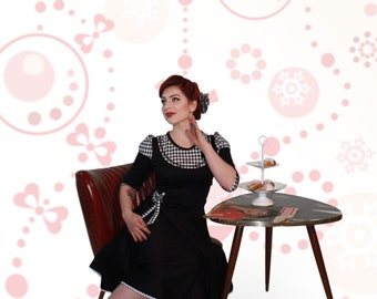 Elegant 50s jersey Winter dress faucets Kicks b/w