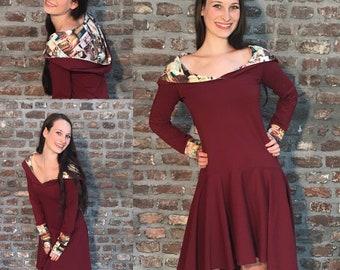 Hooded dress rust jersey dress Autumn Dress Vintage