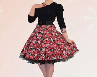 Wow! Plate Skirt petticoat 50s floral pattern Red