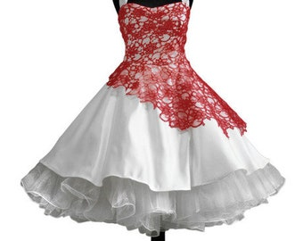 Bridal dress black petticoat berries Red Hochzeitsklei