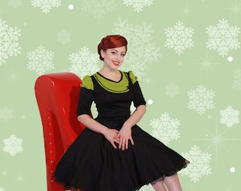 Chic 50s jersey Winter dress Black Green