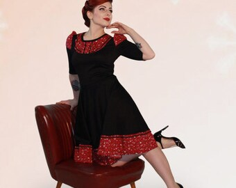 Wow! 50s jersey winter Dress Magenta Rose