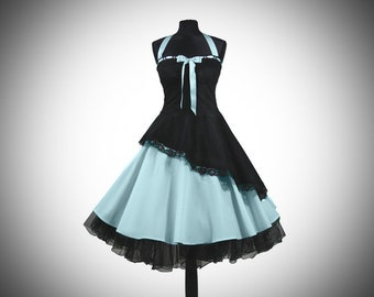 Black petticoat Evening dress 50 years oblique turquoise