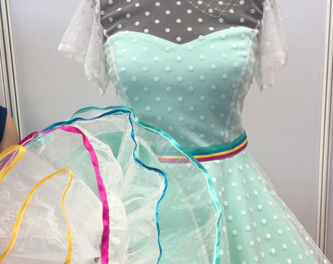 Wedding gown, knee length, wedding dress, turquoise, rainbow