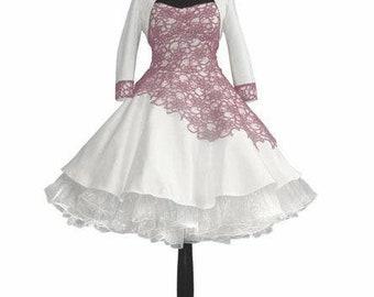 Bridal gown black petticoat wedding dress old Rose