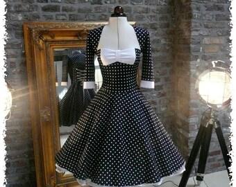 08b93a73350c Beautiful handmade swing dress 50s style in darkblue or black costum dress.  Very pretty polka dot fabric. castom made