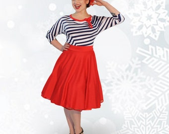 Black petticoat 50s jersey winter dress sailor
