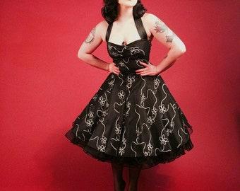 Black petticoat Evening Dress 50 years silver black