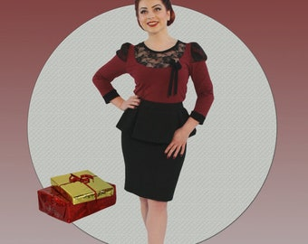 Noble 50s shirt Bordeaux with lace