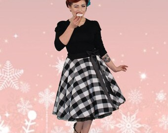 Wow! Plate skirt petticoat 50s squared b/w