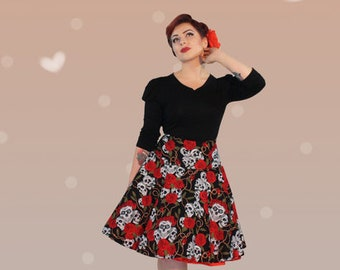 Wow! Circle skirt petticoat fifties skull print