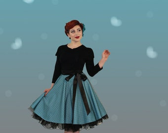 Wow! Plate skirt petticoat 50s petrol dots tulle