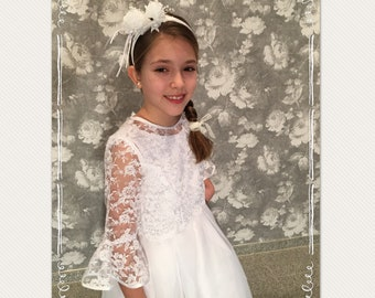 Communion dress white Long Noble lace