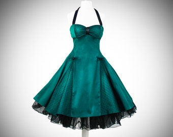 Black petticoat Evening dress 50 years petrol tulle