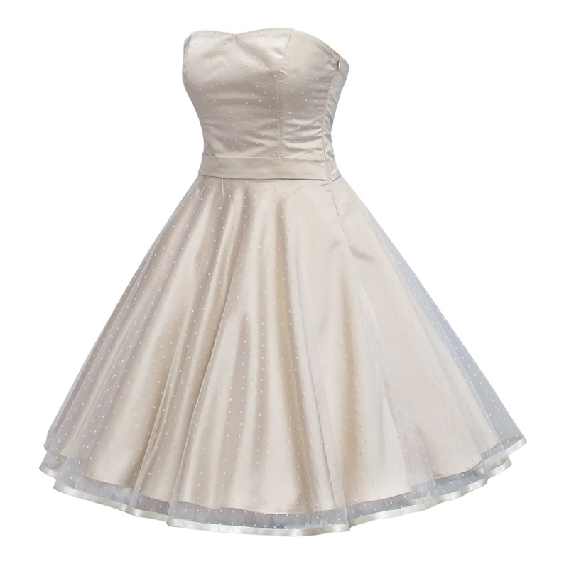 dcfe73d437 Rockabilly wedding dress made of dots tulle in champagne