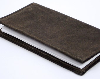 Handmade Brown Checkbook Cover,  Basic Check Book,  Unisex Accessory Gift of Oak Brown Waxed Canvas by WhiteCross Designs,  Made to Order